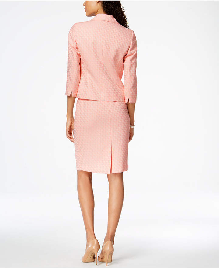 Le Suit Printed Three-Button Skirt Suit