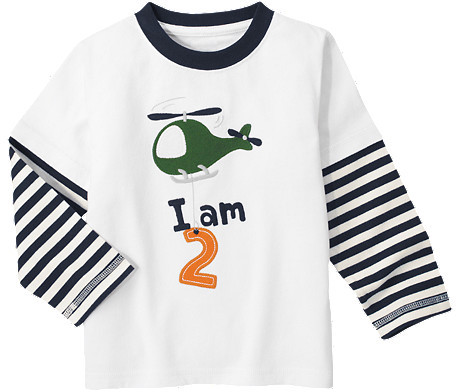 Gymboree 2nd Birthday Helicopter Double Sleeve Tee