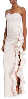 Badgley Mischka Strapless Sweetheart Asymmetric Ruffle Gown