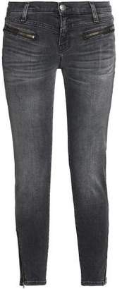 Current/elliott Woman The Atwater Zip Faded Low-rise Skinny Jeans Dark Gray Size 29 Current Elliott Discount Newest PW8UBihC