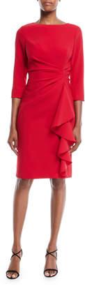 Rickie Freeman For Teri Jon 3/4-Sleeve Draped Cascade Ruffle Sheath Crepe Cocktail Dress