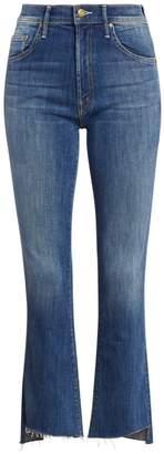 Mother Insider High-Rise Frayed Hem Cropped Jeans