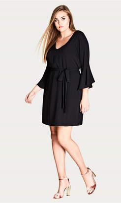 City Chic Black Bell Sleeve Dress