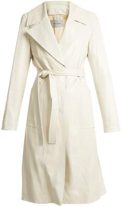 Yves Salomon Leather tie-waist trench coat
