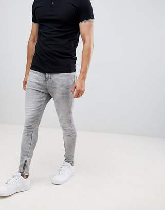 Religion skinny fit jean with stretch and zips in gray