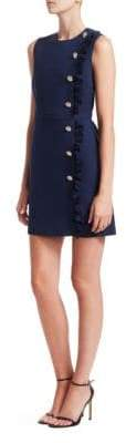 MSGM Crepe Side Ruffle Mini Dress