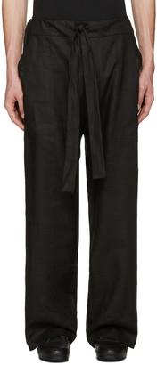 Phoebe English Black Linen Tie Front Trousers $480 thestylecure.com