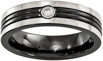 MODERN BRIDE Edward Mirell Mens Diamond Accent White Diamond Titanium Wedding Band