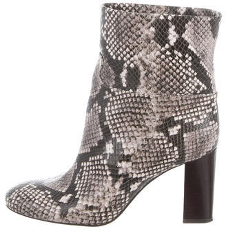 Tory BurchTory Burch Snakeskin Round-Toe Ankle Boots