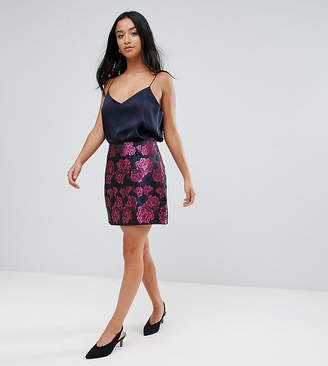 Fashion Union Petite Mini Skirt In Metallic Brocade