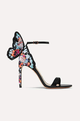 Sophia Webster Chiara Embroidered Leather And Satin Sandals - Black