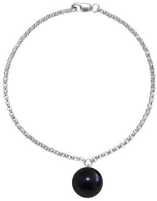 ORA Pearls - Silver Alba Bracelet Black Pearl Charm