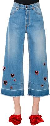 Embroidered Heart Cutouts Denim Jeans