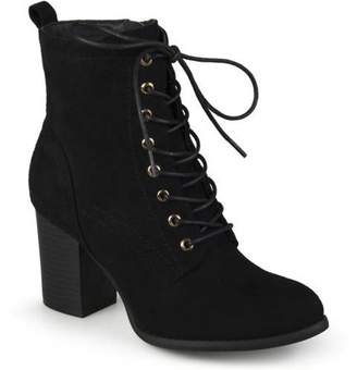Brinley Co. Women's Lace-up Stacked Heel Faux Suede Booties