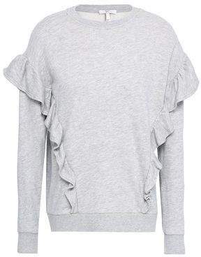 Joie Agnia Ruffle-Trimmed French Cotton-Blend Terry Sweatshirt