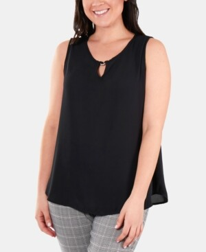 NY Collection Embellished Keyhole Top