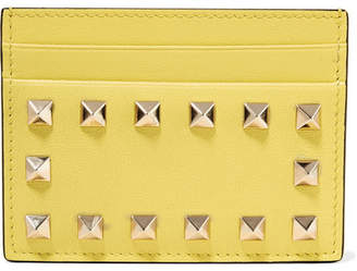 Valentino Garavani The Rockstud Textured-leather Cardholder - Pastel yellow