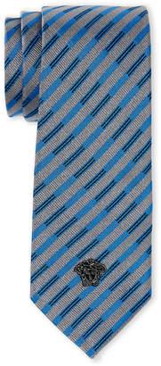 Versace Violet & Grey Stripe Slim Silk Tie
