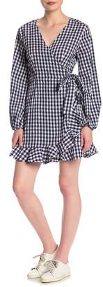 Sneak Peek Denim Gingham Ruffle Hem Wrap Dress