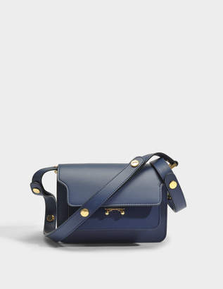 Marni Mini Trunk Bag in Deep Blue Matte Calfskin