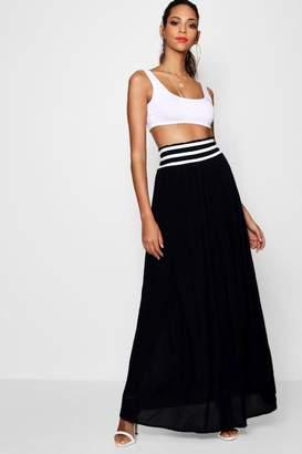 boohoo Woven Cheesecloth Shirred Waist Maxi Skirt