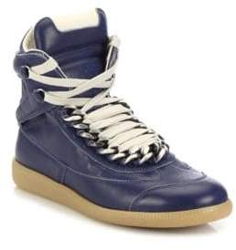 Maison Margiela Future Chained Leather High-Top Sneakers