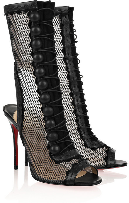 Christian Louboutin Attention 100 cutout mesh and leather boots