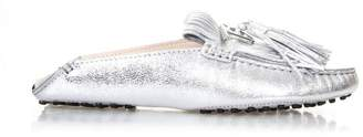 Tod's Silver Pads Fringes Loafers In Leather