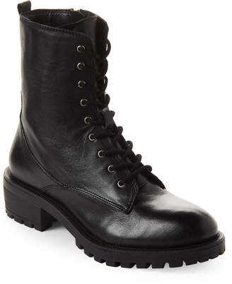 Steve Madden Black Mitsu Lace-Up Leather Boots