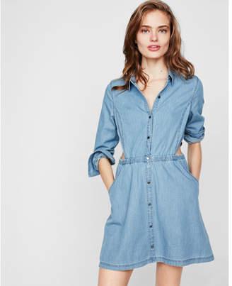Express denim side cut-out shirt dress