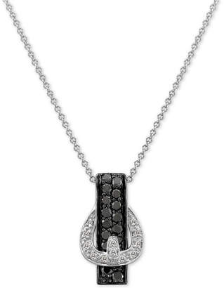 "LeVian Le Vian Exotics Diamond Belt Buckle 18"" Pendant Necklace (3/8 ct. t.w.) in 14k White Gold"