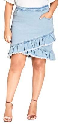 City Chic Denim Fling Skirt