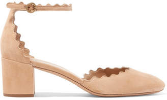 Chloé Lauren Scalloped Suede Pumps - Beige