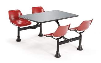 """OFM Model 1004 Cluster Seating Table with 24"""" Stainless Steel Top and Red Seats"""