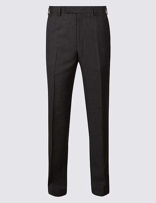 Marks and Spencer Grey Textured Tailored Fit Wool Trousers
