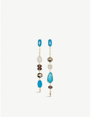 Kendra Scott Cosette asymmetric 14ct yellow gold-plated brass and teal agate drop earrings
