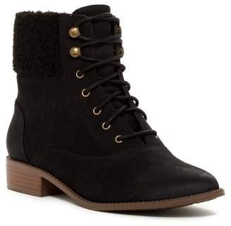 BC Footwear Hood Faux Shearling & Vegan Cuff Lace-Up Boot