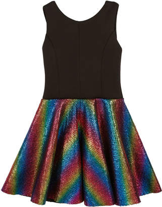 Zoe Sleeveless Dress with Foil Rainbow Skirt, Size 7-16