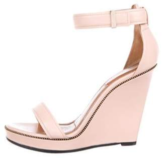 Givenchy Leather Ankle Strap Wedges Pink Leather Ankle Strap Wedges