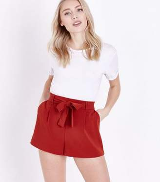 New Look Petite Rust Tie Waist Shorts