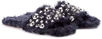 Embellished faux-fur slides