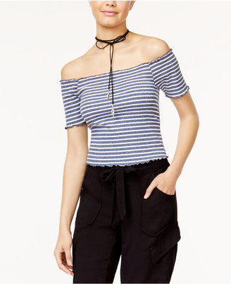 American Rag Juniors' Striped Off-The-Shoulder Crop Top, Only at Macy's $29.50 thestylecure.com