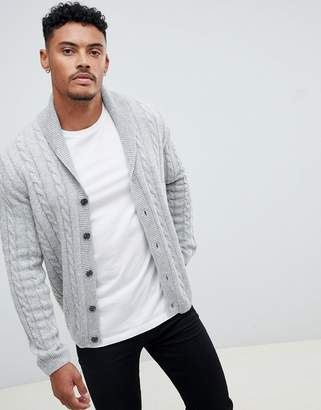 Asos DESIGN cable cardigan in light gray