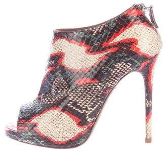 Tabitha Simmons Snakeskin Peep-Toe Booties