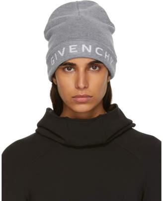 Givenchy Grey Wool Logo Beanie