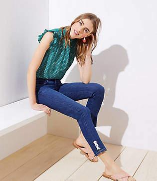 LOFT Lace Up Cuff Skinny Jeans in Original Dark Indigo Wash