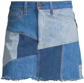 Alice + Olivia Jeans Patchwork Mini Skirt