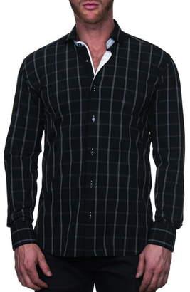 Maceoo Einstein Regular Fit Plaid Line Button-Up Shirt