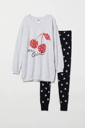 H&M Pajama Top and Leggings - Gray