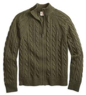 Brooks Brothers Red Fleece Cable-Knit Zip Sweater